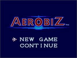 Title screen of Aerobiz on the Nintendo SNES.