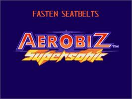 Title screen of Aerobiz Supersonic on the Nintendo SNES.