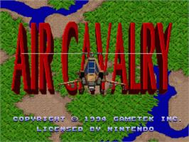 Title screen of Air Cavalry on the Nintendo SNES.