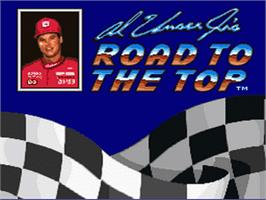 Title screen of Al Unser Jr.'s Road to the Top on the Nintendo SNES.