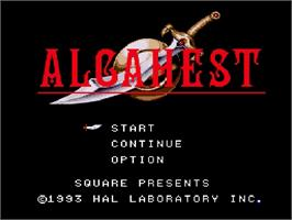 Title screen of Alcahest on the Nintendo SNES.