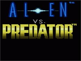 Title screen of Alien Vs. Predator on the Nintendo SNES.