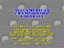 Title screen of All-American Championship Football on the Nintendo SNES.