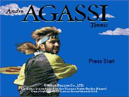 Title screen of Andre Agassi Tennis on the Nintendo SNES.