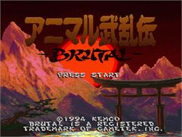 Title screen of Animal Buranden: Brutal on the Nintendo SNES.