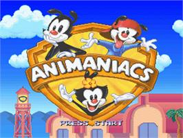 Title screen of Animaniacs on the Nintendo SNES.
