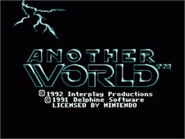 Title screen of Another World on the Nintendo SNES.