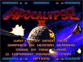 Title screen of Apocalypse II on the Nintendo SNES.