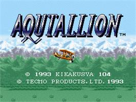 Title screen of Aqutallion on the Nintendo SNES.