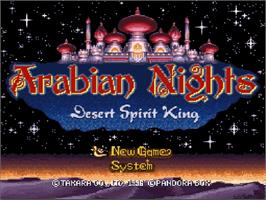 Title screen of Arabian Nights: Sabaku no Seirei Ou on the Nintendo SNES.