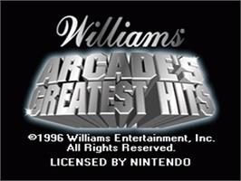 Title screen of Arcade's Greatest Hits: The Atari Collection 1 on the Nintendo SNES.