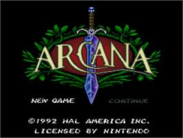 Title screen of Arcana on the Nintendo SNES.