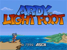 Title screen of Ardy Lightfoot on the Nintendo SNES.