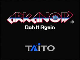 Title screen of Arkanoid: Doh It Again on the Nintendo SNES.