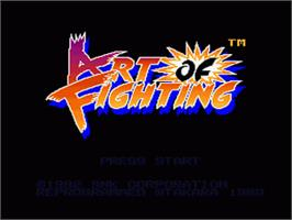Title screen of Art of Fighting on the Nintendo SNES.