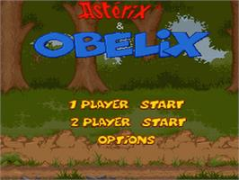 Title screen of Asterix and Obelix on the Nintendo SNES.