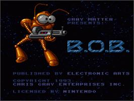 Title screen of B.O.B. on the Nintendo SNES.