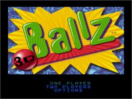 Title screen of Ballz 3D on the Nintendo SNES.