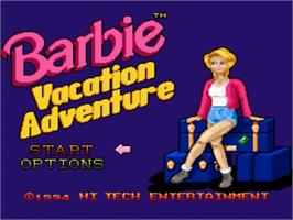 Title screen of Barbie Vacation Adventure on the Nintendo SNES.
