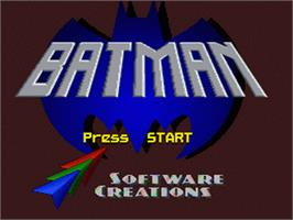 Title screen of Batman: Revenge of the Joker on the Nintendo SNES.