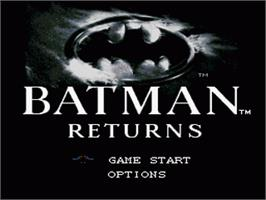 Title screen of Batman Returns on the Nintendo SNES.