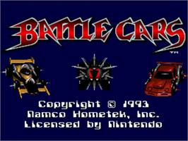 Title screen of Battle Cars on the Nintendo SNES.