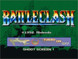 Title screen of Battle Clash on the Nintendo SNES.