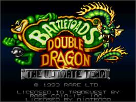 Title screen of Battletoads & Double Dragon: The Ultimate Team on the Nintendo SNES.