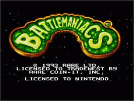 Title screen of Battletoads in Battlemaniacs on the Nintendo SNES.