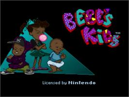 Title screen of Bebe's Kids on the Nintendo SNES.