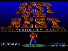 Title screen of Best of the Best Championship Karate on the Nintendo SNES.