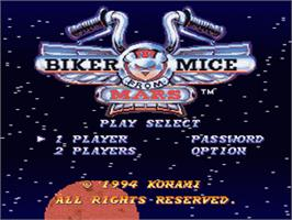 Title screen of Biker Mice From Mars on the Nintendo SNES.