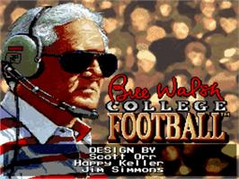 Title screen of Bill Walsh College Football on the Nintendo SNES.