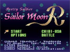 Title screen of Bishoujo Senshi Sailor Moon R on the Nintendo SNES.
