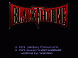 Title screen of Blackthorne on the Nintendo SNES.