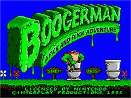 Title screen of Boogerman: A Pick and Flick Adventure on the Nintendo SNES.