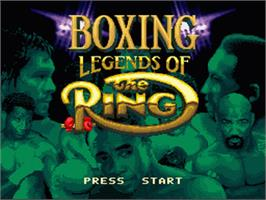 Title screen of Boxing Legends of the Ring on the Nintendo SNES.
