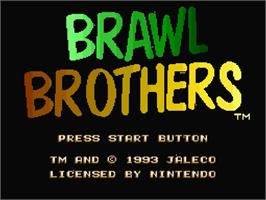 Title screen of Brawl Brothers: Rival Turf! 2 on the Nintendo SNES.