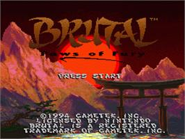 Title screen of Brutal: Paws of Fury on the Nintendo SNES.