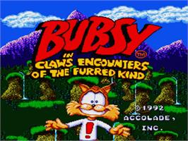 Title screen of Bubsy in: Claws Encounters of the Furred Kind on the Nintendo SNES.