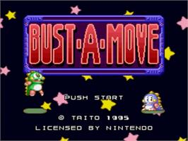 Title screen of Bust-A-Move on the Nintendo SNES.