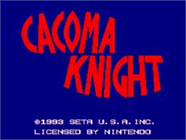 Title screen of Cacoma Knight in Bizyland on the Nintendo SNES.