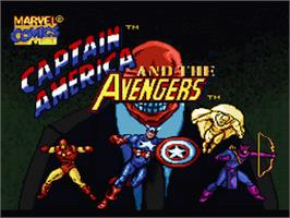 Title screen of Captain America and the Avengers on the Nintendo SNES.