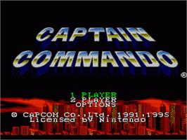 Title screen of Captain Commando on the Nintendo SNES.