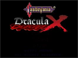 Title screen of Castlevania: Dracula X on the Nintendo SNES.