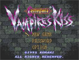 Title screen of Castlevania: Vampire's Kiss on the Nintendo SNES.