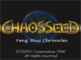 Title screen of Chaos Seed: Fuusui Kairoki on the Nintendo SNES.