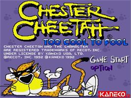 Title screen of Chester Cheetah: Too Cool to Fool on the Nintendo SNES.