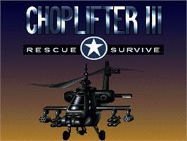 Title screen of Choplifter III: Rescue Survive on the Nintendo SNES.