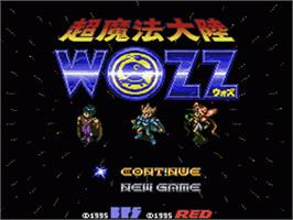 Title screen of Chou Mahou Tairiku Wozz on the Nintendo SNES.